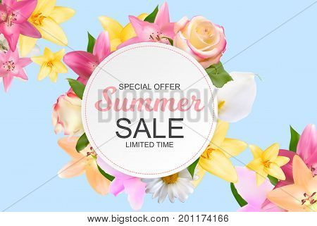 Summer Sale Banner with Lily, Rose, Chamomile and Calla Flowers. Cute Natural Background Vector Illustration EPS10
