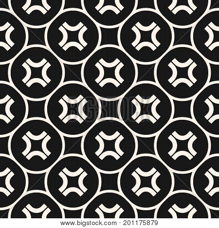 Simple vector seamless pattern with curved crosses in circular lattice. Funky style background, hipster fashion element. Abstract monochrome geometric texture. Dark design for decor, covers, digital.