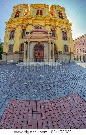German Dome located on Union Square in Timisoara Romania. Fish eye view.