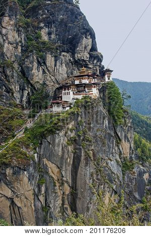 Paro Taktsang is the popular name of Taktsang Palphug Monastery also known as Tiger's Nest, an Himalayan Buddhist sacred site and temple complex, located in the cliffside of Paro valley, in Bhutan.