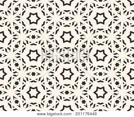 Ornamental pattern. Elegant ornament texture with linear geometric shapes, stars. Abstract monochrome ornamental background, repeat tiles. Asian style design for decoration, fabric, web. Stars pattern, design pattern.