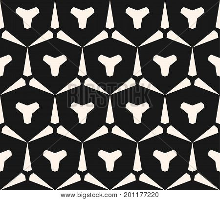 Vector seamless black and white geometric pattern. Abstract monochrome texture with triangular shapes, hexagonal grid. Dark repeat geometrical background. Design element for prints, decor, digital.