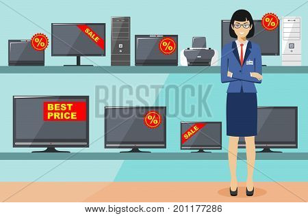 Big sale. Detailed illustration of the seller on the background of shelves with appliances in flat style. Salesman in the electrical shop. Cartoon vector illustration.