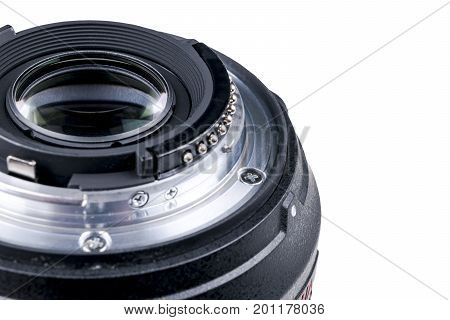 Camera lens with lense reflections. Lens for SLR Single Lens Reflex Camera. Modern digital SLR camera. Detailed photo of a classic wide aperture portrait lens isolated on white