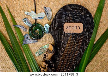 New Zealand - Maori Themed Objects - Mere And Greenstone Pendant With Aroha Label (maori For Love An