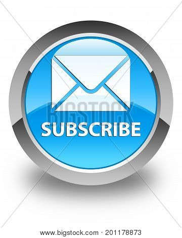 Subscribe (email Icon) Glossy Cyan Blue Round Button