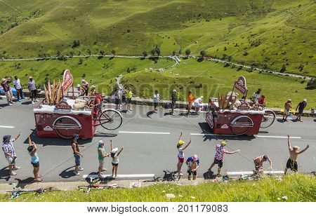 Col de PeyresourdeFrance- July 23 2014: Banette vehicle during the passing of the Publicity Caravan on the road to Col de Peyresourde in Pyrenees Mountains in the stage 17 of Le Tour de France on 23 July 2014.