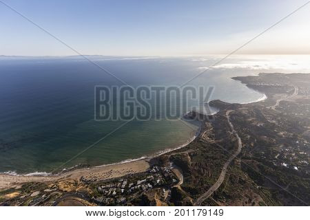 Aerial view towards Portguesse Bend and Abalone Cove in Rancho Palos Verdes, California.