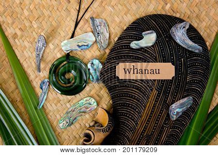 New Zealand - Maori Themed Objects - Mere And Greenstone Pendant With Whanua Label (maori For Family