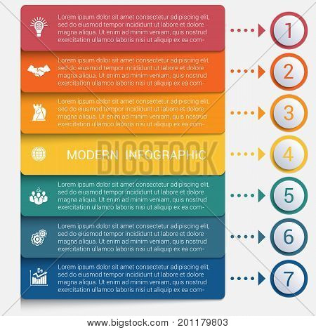 Modern strips infographics 7 options banner for business processes workflow diagram flowcharts