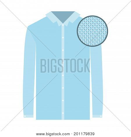 colorful silhouette of shirt long sleeve man and circle of macro textile pattern vector illustration