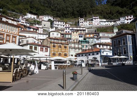 View Of The Hill Full Of Houses In Cudillero, Spain