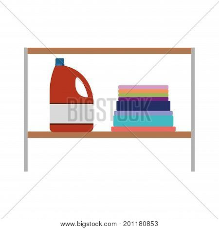 colorful silhouette of rack with bleach clothes bottle and folded towels vector illustration