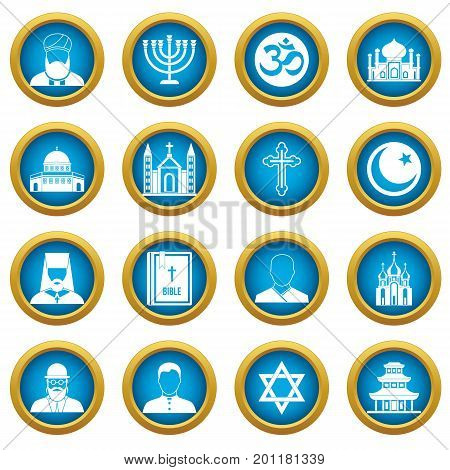 Religious symbol icons blue circle set isolated on white for digital marketing