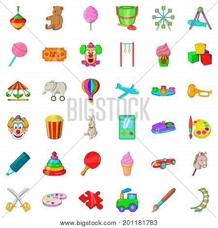 Playing icons set. Cartoon style of 36 playing vector icons for web isolated on white background