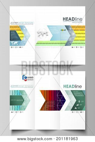 Tri-fold brochure business templates on both sides. Easy editable abstract layout in flat design, vector illustration. Bright color rectangles, colorful design, overlapping geometric rectangular shapes forming abstract beautiful background