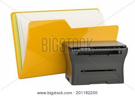 Computer folder icon with multifunction printer MFP 3D rendering isolated on white background