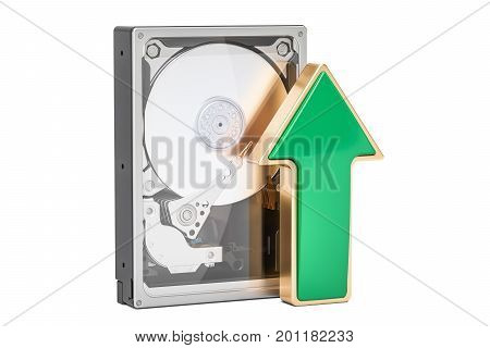 Hard Disk Drive HDD with green arrow upload data concept 3D rendering