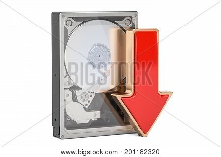 Hard Disk Drive HDD with red arrow download data concept 3D rendering