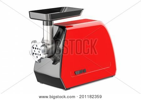 Red electric meat grinder closeup 3D rendering isolated on white background
