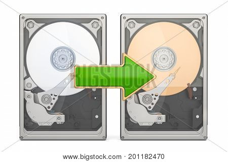 Storage backup concept with HDD 3D rendering isolated on white background