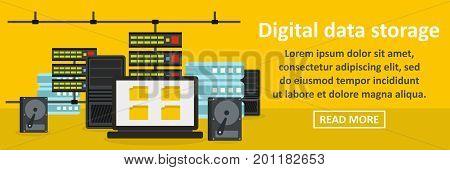 Digital data storage banner horizontal concept. Flat illustration of digital data storage banner horizontal vector concept for web