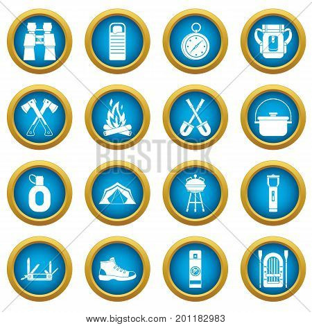 Recreation tourism icons blue circle set isolated on white for digital marketing