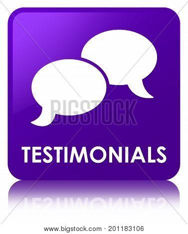 Testimonials (chat Icon) Purple Square Button