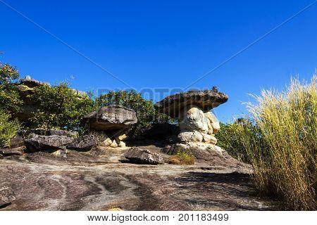 Mushroom stone beauty blue sky background at Phu Pha thoep National Park Mukdahan county of Thailand