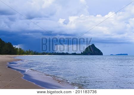 The beach Bang Boet Beach and the rain Chumphon Province Thailand is famous for travel