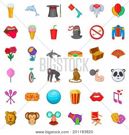Cannon icons set. Cartoon style of 36 cannon vector icons for web isolated on white background