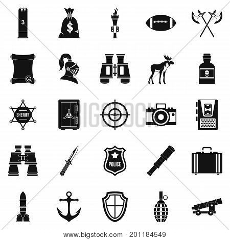 Guns icons set. Simple set of 25 guns vector icons for web isolated on white background