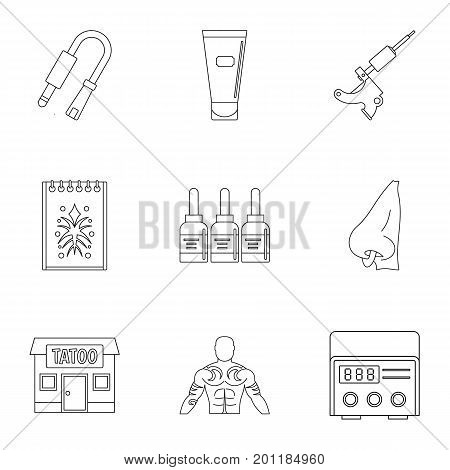 Tattoo salon specialist icon set. Outline set of 9 tattoo salon specialist vector icons for web isolated on white background