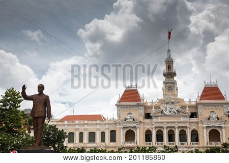 the people's committee building in Ho Chi Minh City Vietnam. This building is an example of the colonial French architecture and was complete in 1908