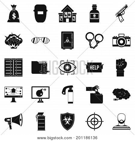 Hacking icons set. Simple set of 25 hacking vector icons for web isolated on white background