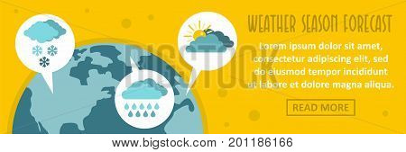 Weather season forecast banner horizontal concept. Flat illustration of weather season forecast banner horizontal vector concept for web