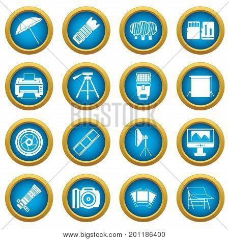 Photo studio icons blue circle set isolated on white for digital marketing
