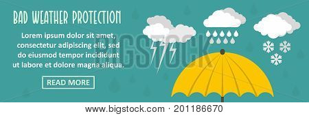 Bad weather protection banner horizontal concept. Flat illustration of bad weather protection banner horizontal vector concept for web