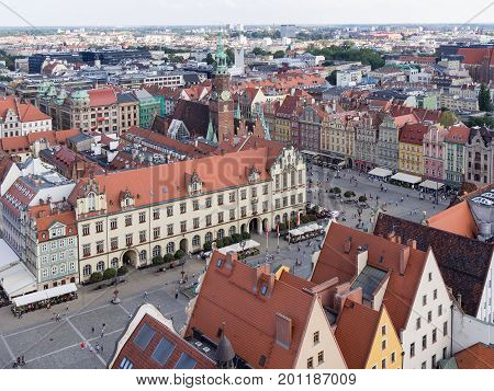 WROCLAW POLAND - AUGUST 14 2017: Aerial View of Rynek Market Square In Wroclaw With Townhall Building