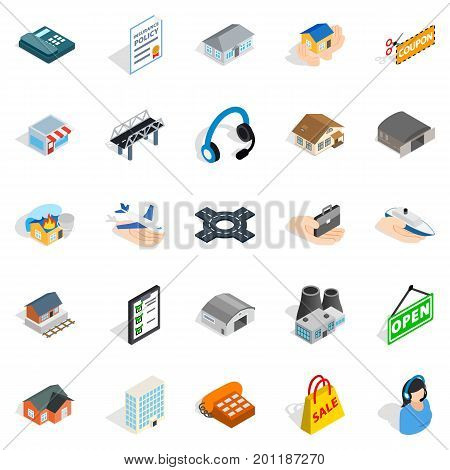 Hangar icons set. Isometric set of 25 hangar vector icons for web isolated on white background