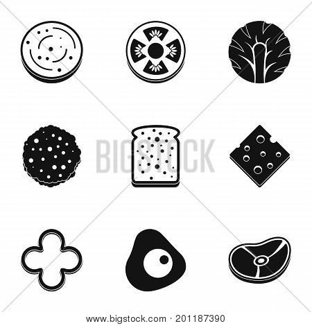 Natural slice product icon set. Simple set of 9 natural slice product vector icons for web isolated on white background