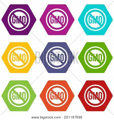 Stop GMO icon set many color hexahedron isolated on white vector illustration
