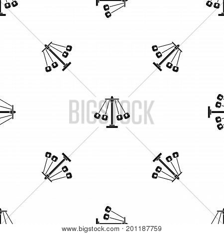 Carnival swing ride pattern repeat seamless in black color for any design. Vector geometric illustration