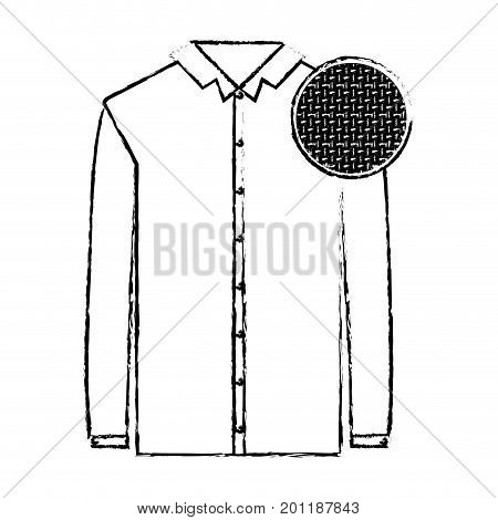 monochrome blurred silhouette of shirt long sleeve man and circle of macro textile pattern