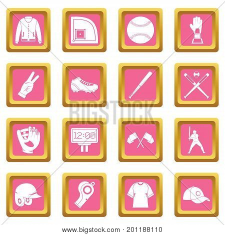 Baseball icons set in pink color isolated vector illustration for web and any design