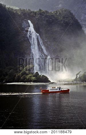 Boat In Milford Sound