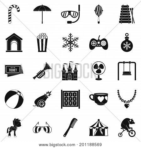Happy childhood icons set. Simple set of 25 happy childhood vector icons for web isolated on white background