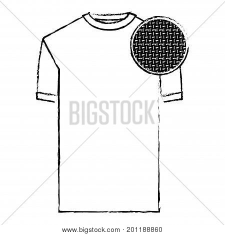 monochrome blurred silhouette of t-shirt man and circle of macro textile pattern vector illustration
