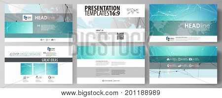 The minimalistic abstract vector illustration of the editable layout of high definition presentation slides design business templates. Futuristic high tech background, dig data technology concept