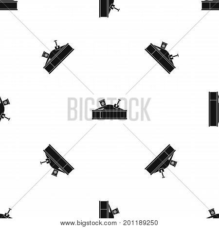 Sandbox with bucket and shovel pattern repeat seamless in black color for any design. Vector geometric illustration